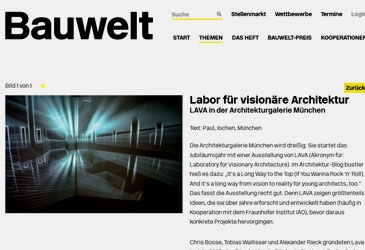 BAUWELT on VISIONAREALITY exhibition